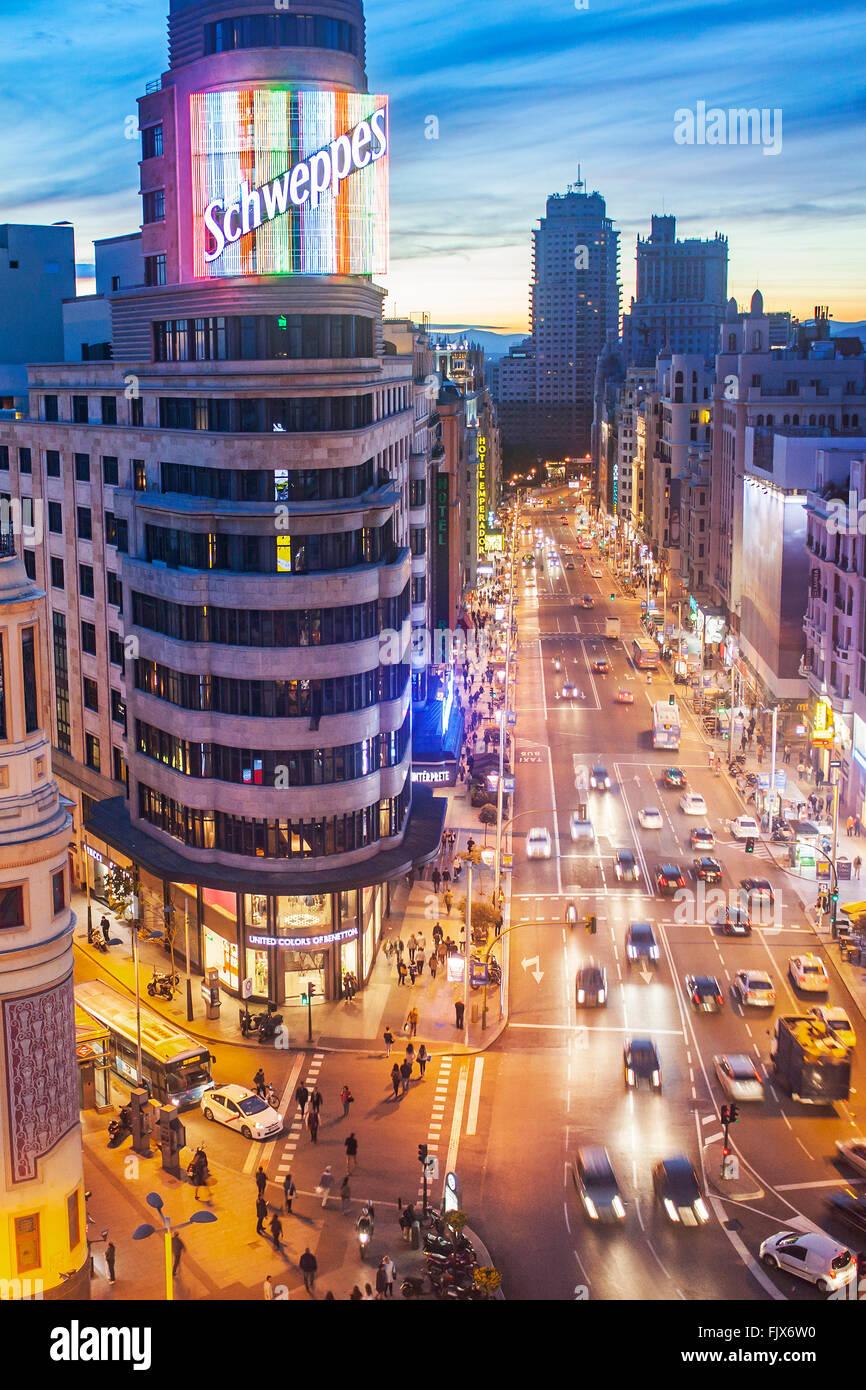 Piazza Callao e Gran Via Avenue, nel centro Capitol Building. Madrid. Spagna. Immagini Stock