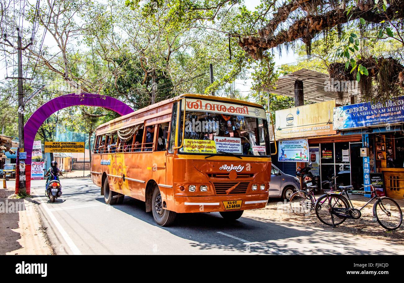 Bus locale di Alleppey Kerala India Immagini Stock