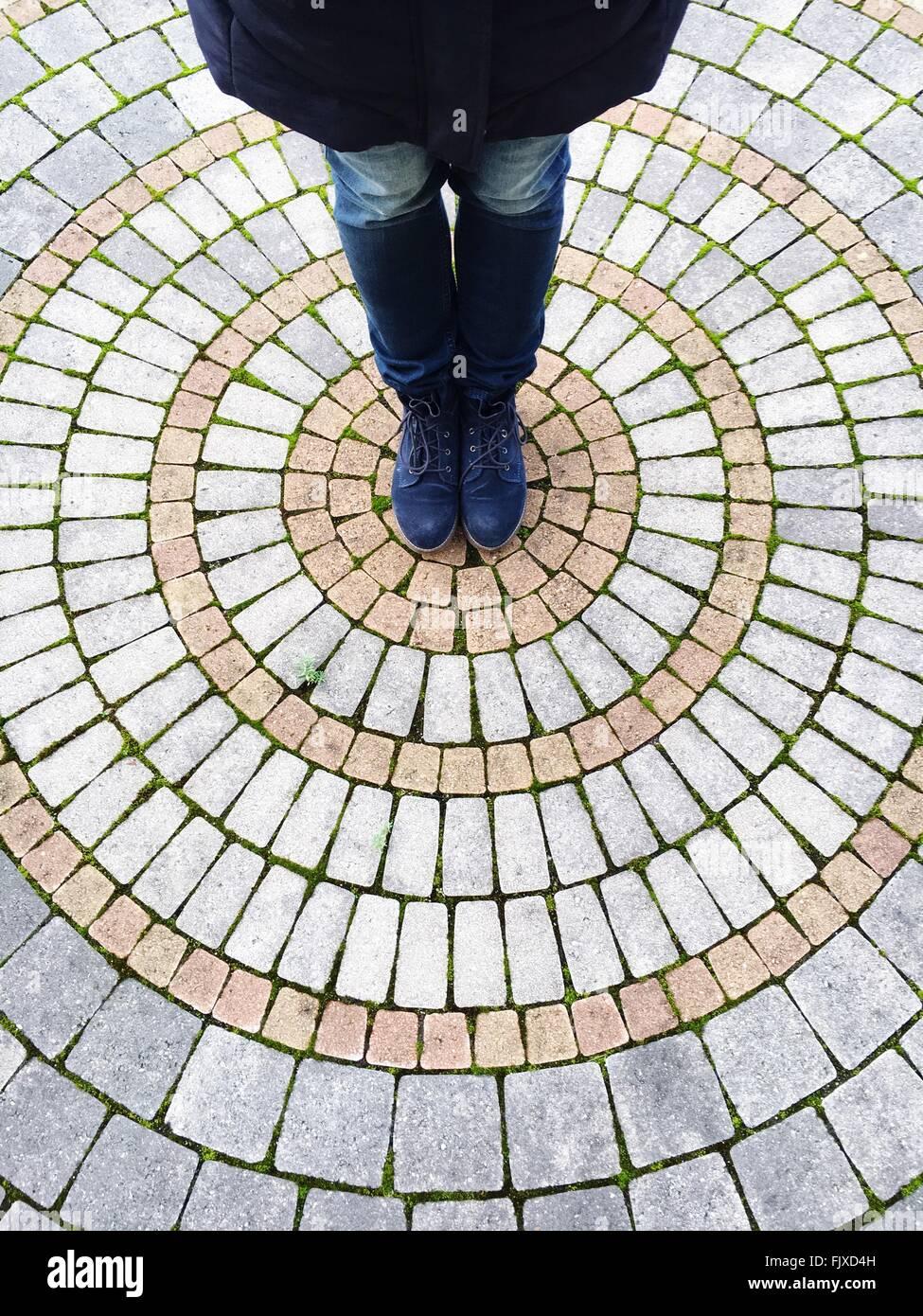 Sezione bassa della persona in piedi sulla strada Immagini Stock