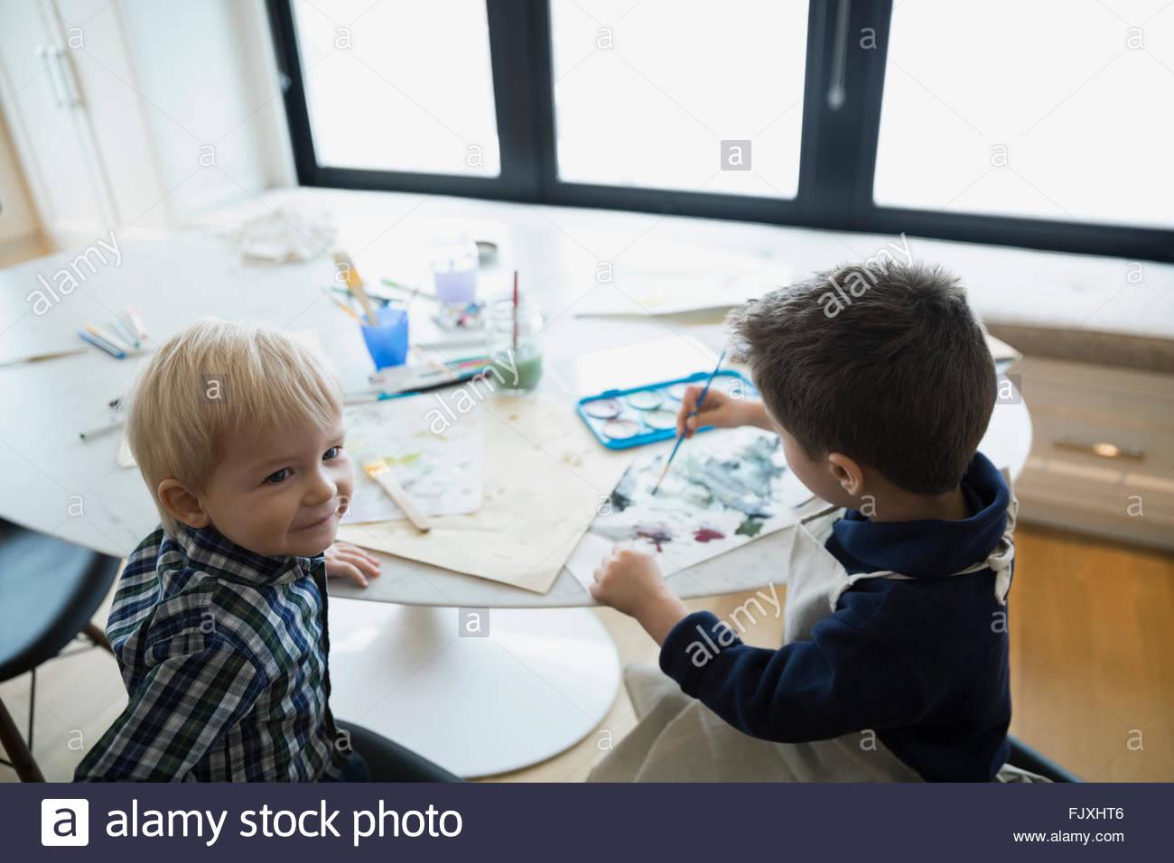 Fratelli pittura ad acquerello a tavola Immagini Stock