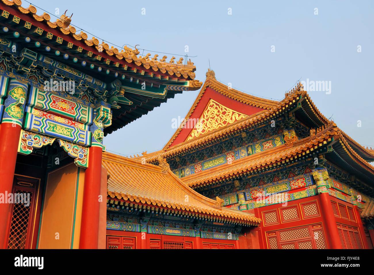 Gli edifici e i tetti a la città proibita a Pechino, Cina Foto stock - Alamy