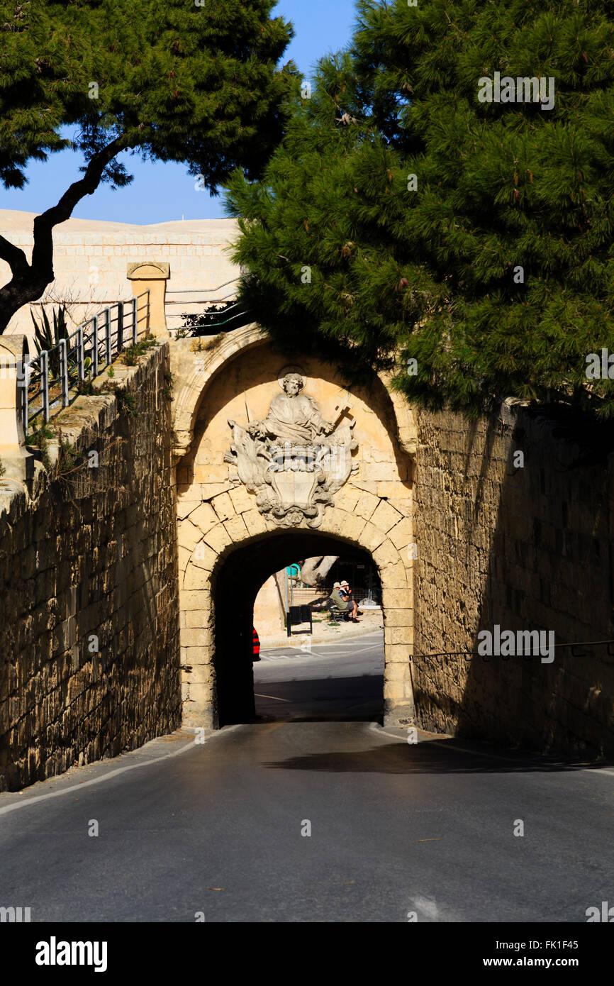 Greco porta esterna, Mdina, Malta Immagini Stock