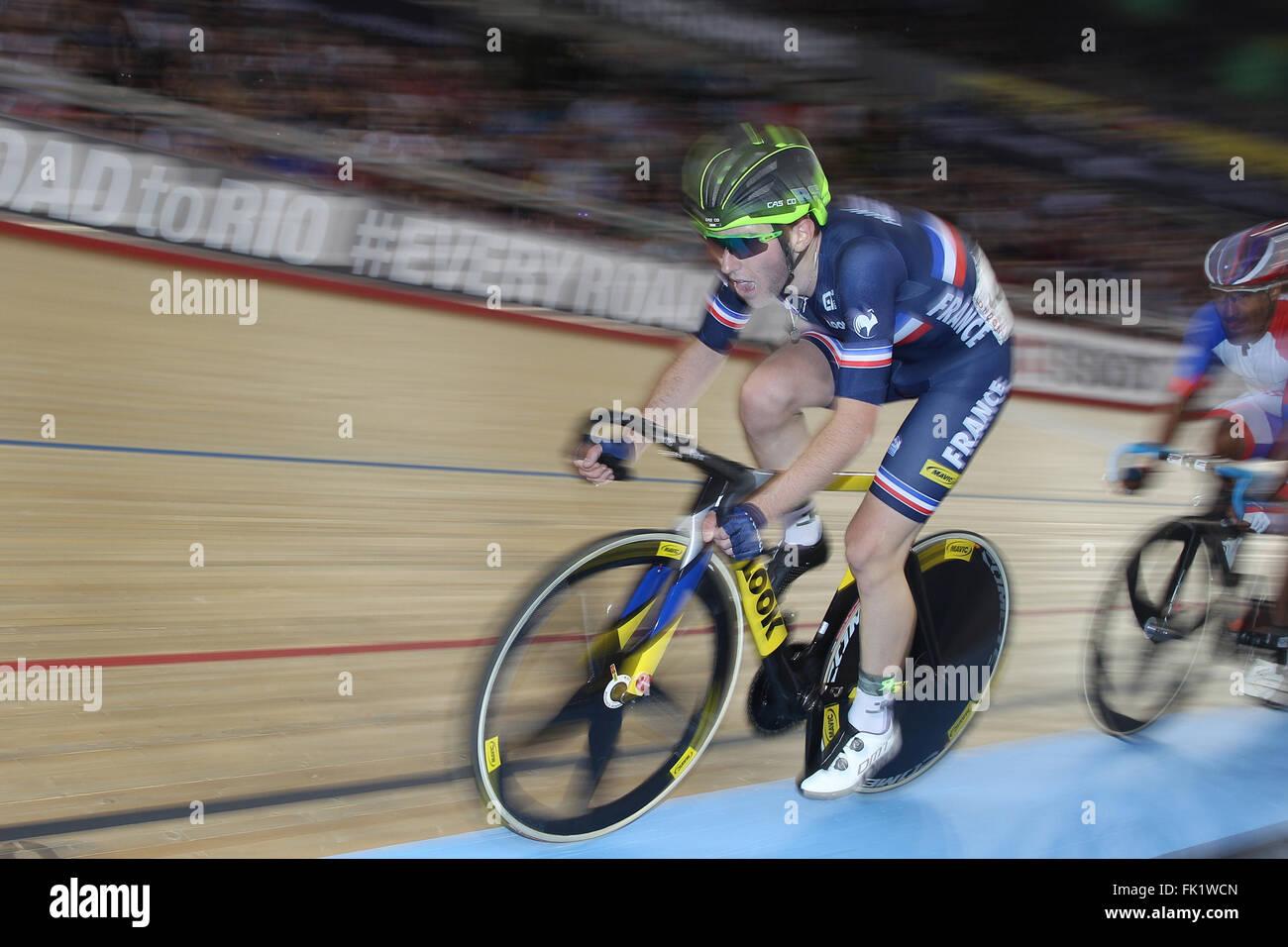 Lee Valley Velo Centre di Londra UK. 05 Mar, 2016. UCI via del Campionato del Mondo di Ciclismo Mens Gara a punti. Immagini Stock