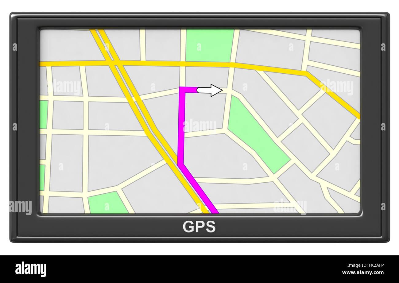 3D render di dispositivo di navigazione GPS isolati su sfondo bianco Immagini Stock
