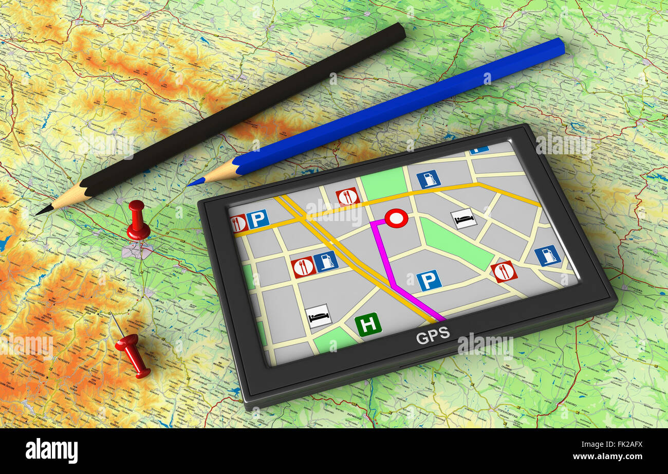 3D render di dispositivo di navigazione GPS su sfondo mappa Immagini Stock