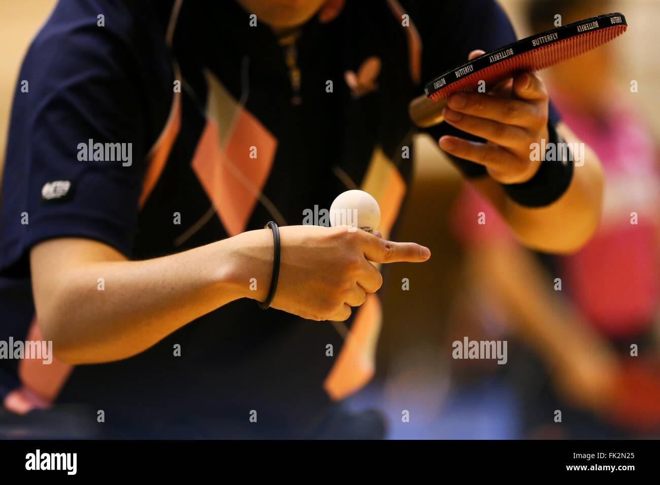 Osaka, Giappone. Mar 5, 2016. Dettaglio shot Tennis da tavolo : Giappone aprire Para Table Tennis campionati a rapporti Immagini Stock