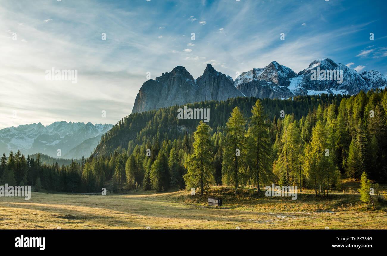 Passo Tre Croci, montagne dolomitiche, Provincia di Belluno, Veneto, Italia Immagini Stock