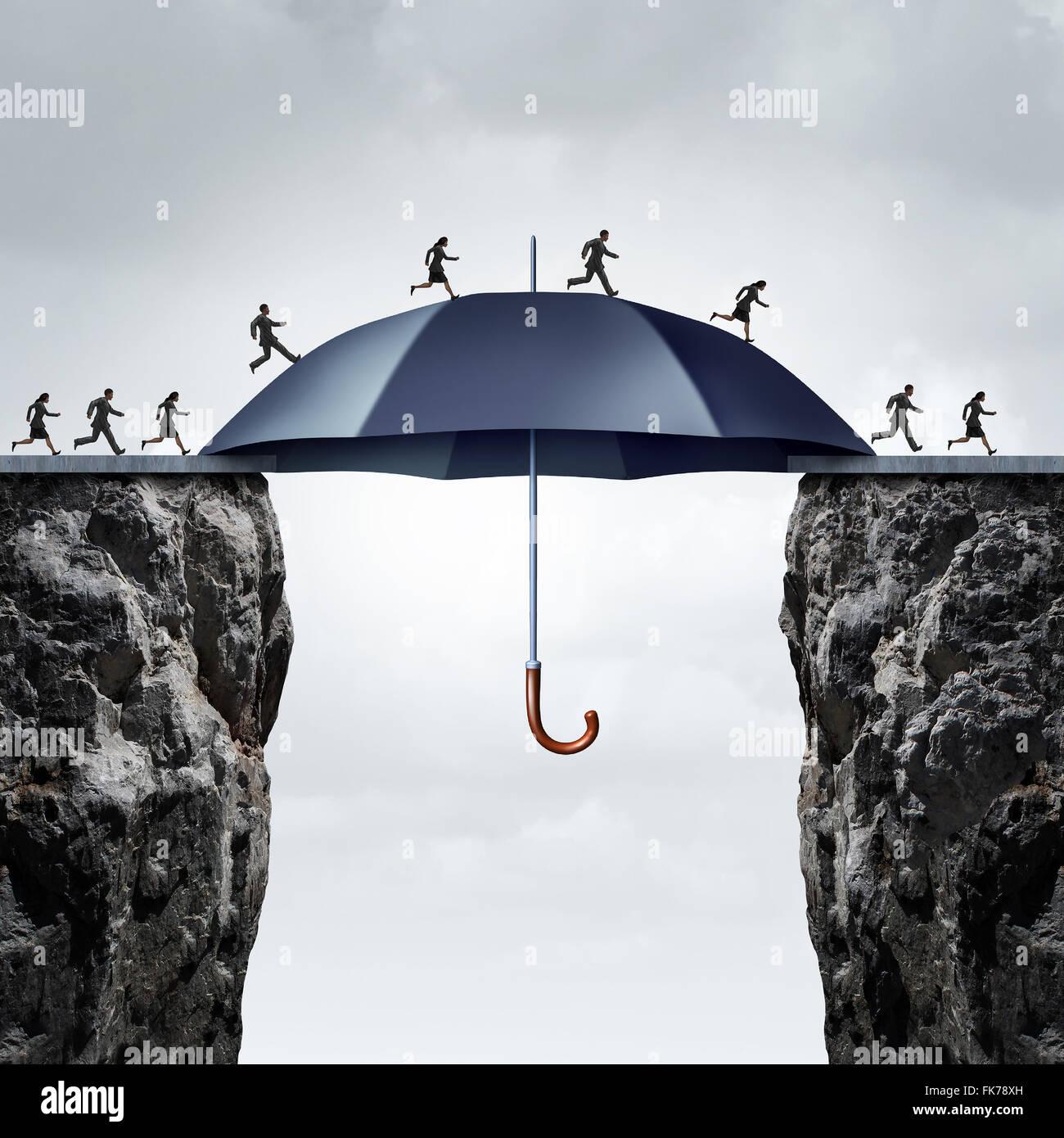 Ponte di sicurezza concept come la gente di affari in esecuzione su due scogliere alte con l aiuto di un sicuro Immagini Stock