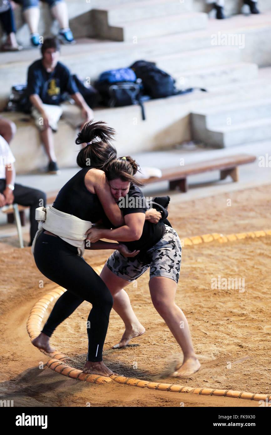 Selettiva per il campionato del mondo la serie sport palestra di Sumo e Brazil-Japan culturale Immagini Stock