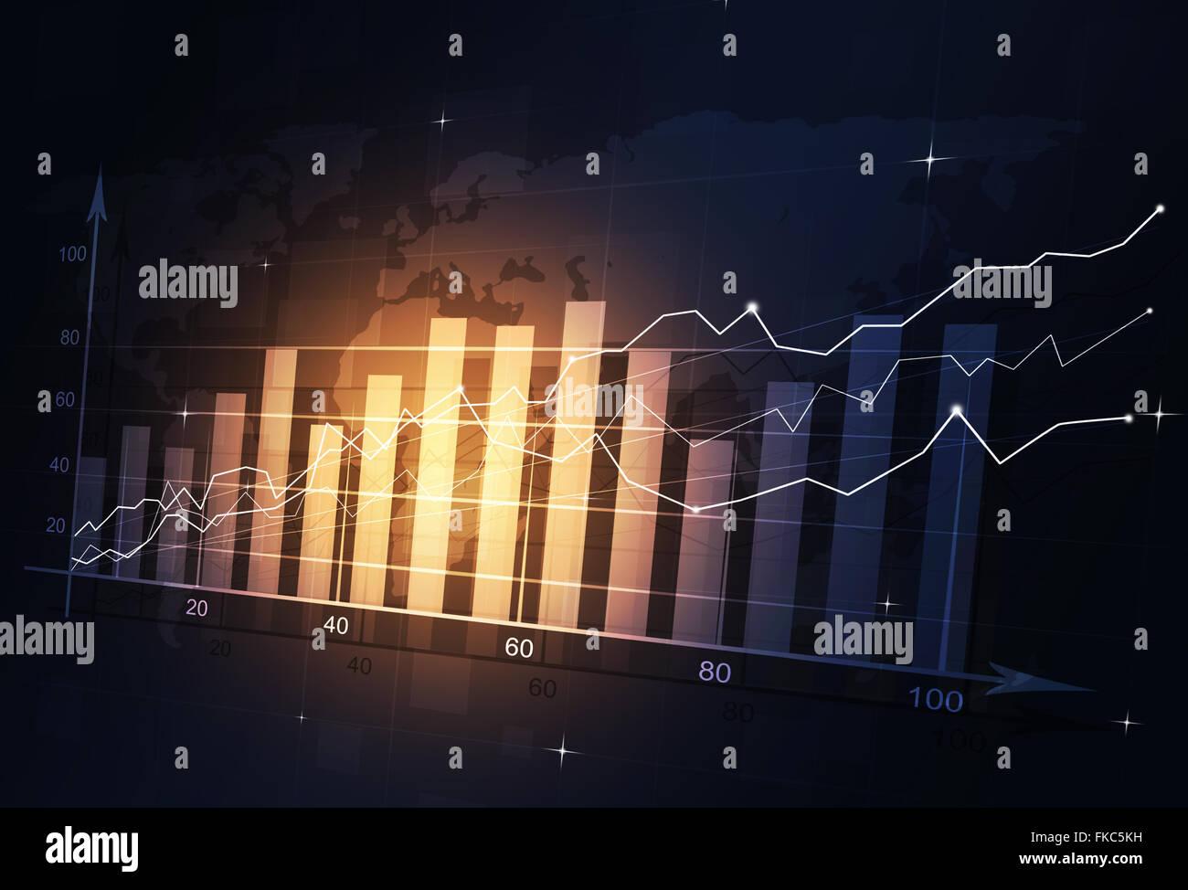 Abstract finanza del mercato schema su sfondo scuro Immagini Stock