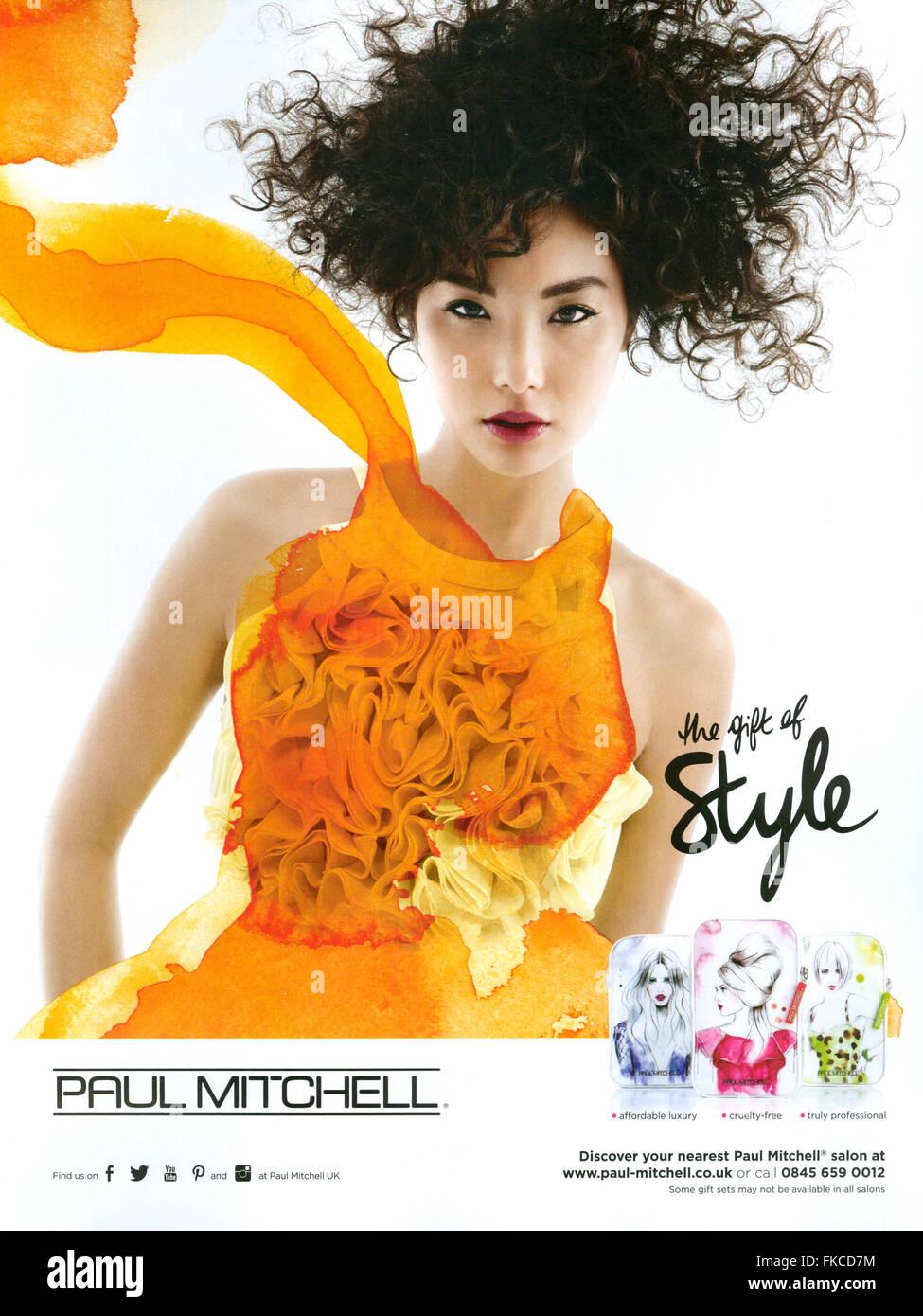 2010S UK Paul Mitchell Magazine annuncio pubblicitario Immagini Stock