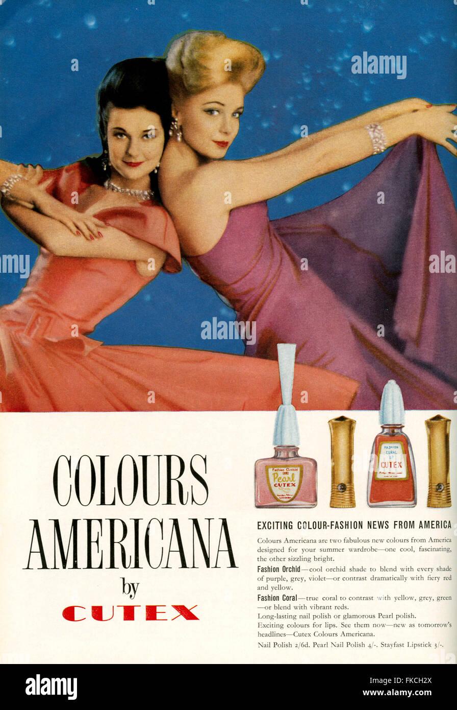 1960S UK Cutex Magazine annuncio pubblicitario Foto Stock