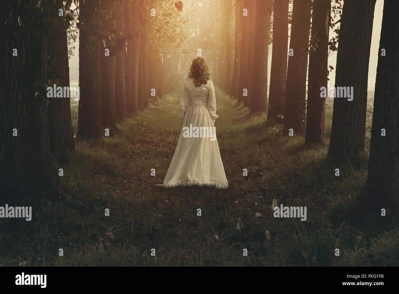 Donna con abito vittoriano in fairy e sognanti realm. Manipolazione di fantasia Immagini Stock
