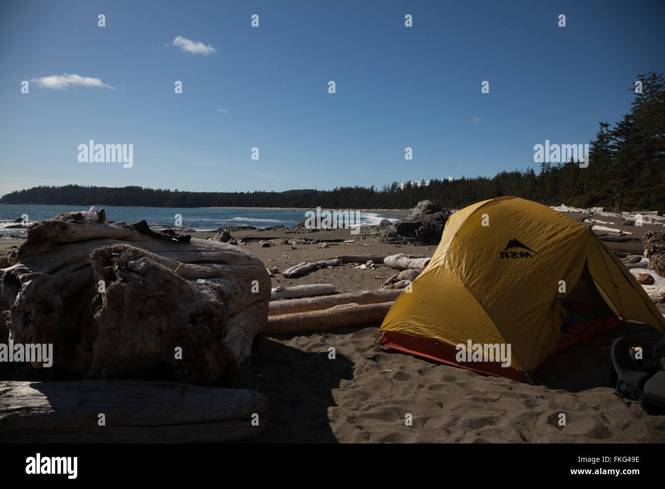 Campeggio a Keeha Bay sull'Isola di Vancouver. Immagini Stock