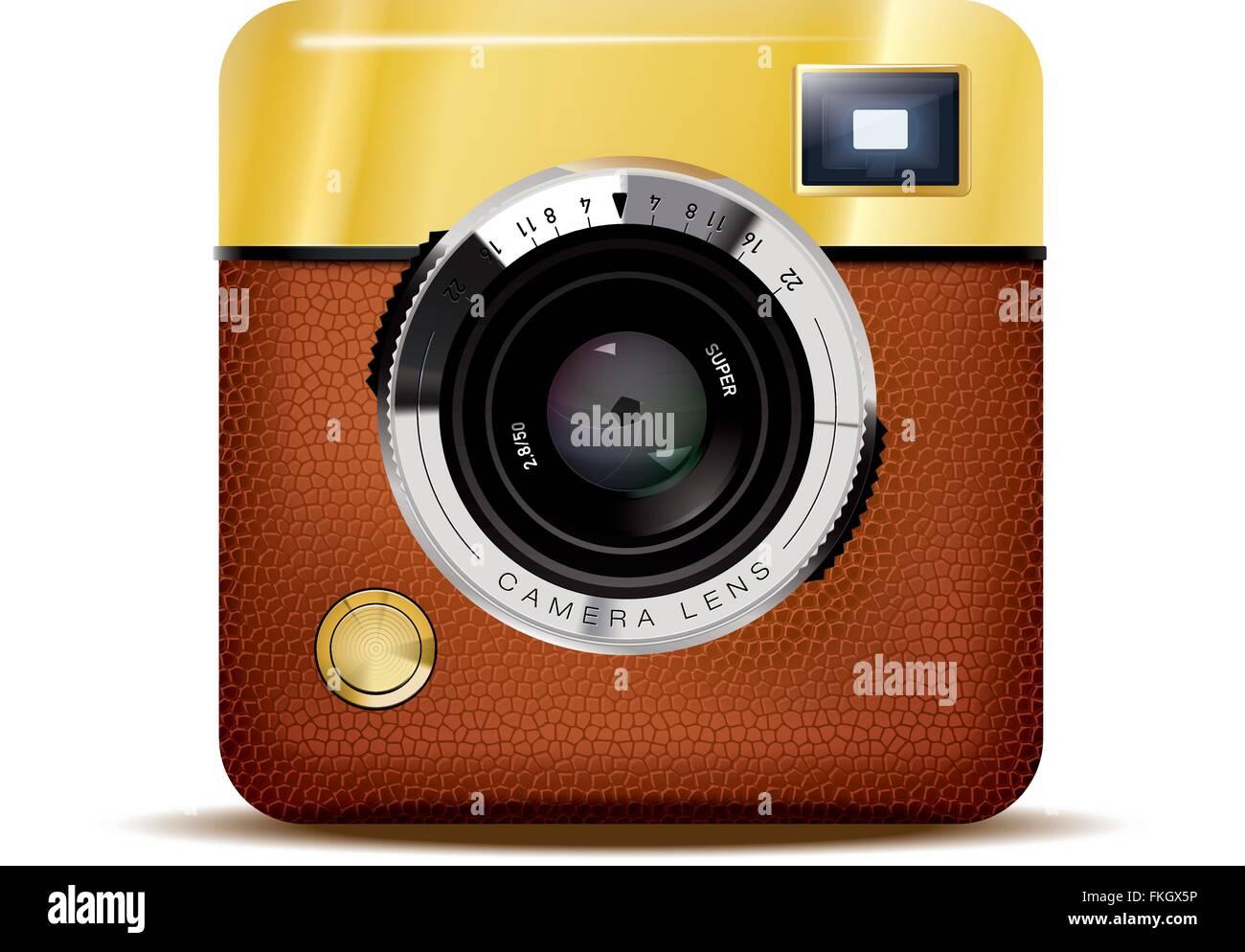 Icona dettagliata di marrone cuoio rivestito retrò fotocamera mirino isolati su sfondo bianco Immagini Stock