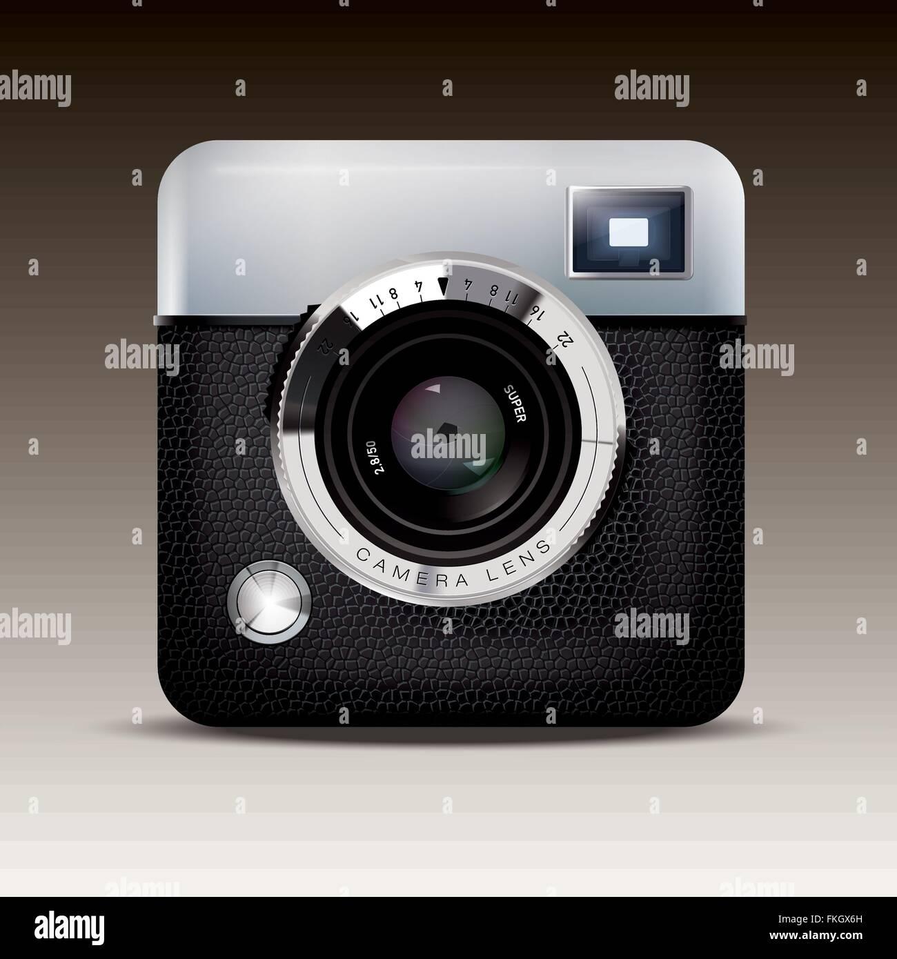 Icona dettagliata di Vintage fotocamera mirino Immagini Stock