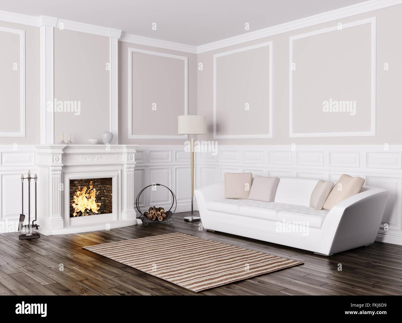 Design classico del soggiorno con divano bianco e camino 3D render ...