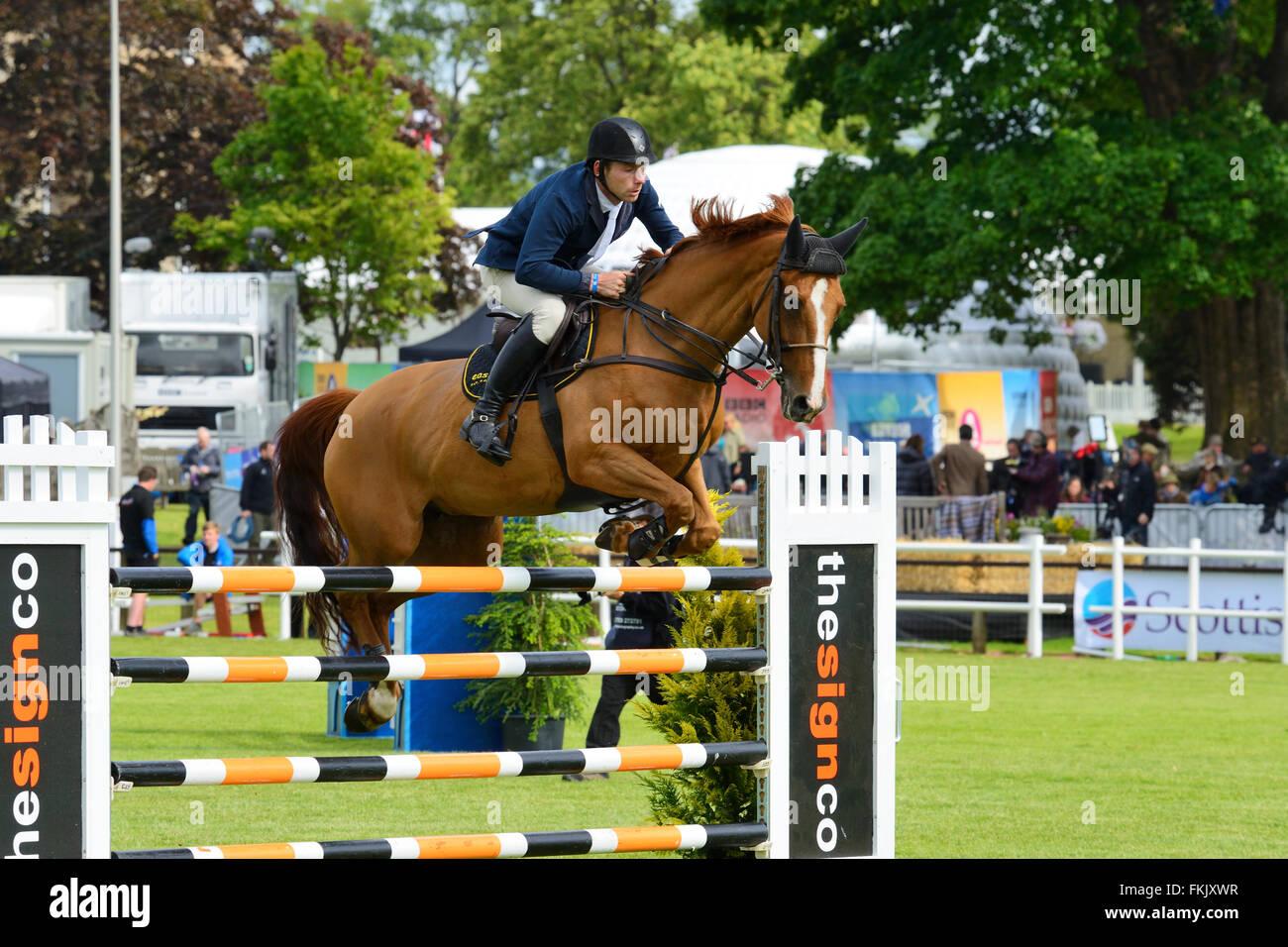 Show Jumping al Royal Highland Show 2015, Ingliston, Edimburgo, Scozia, Regno Unito Immagini Stock