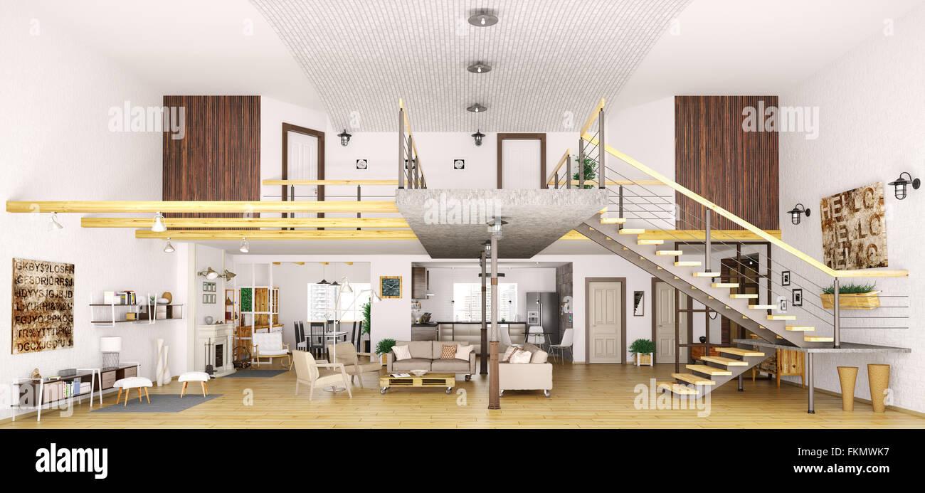 Moderno appartamento loft interni nel taglio, salotto, sala, cucina ...