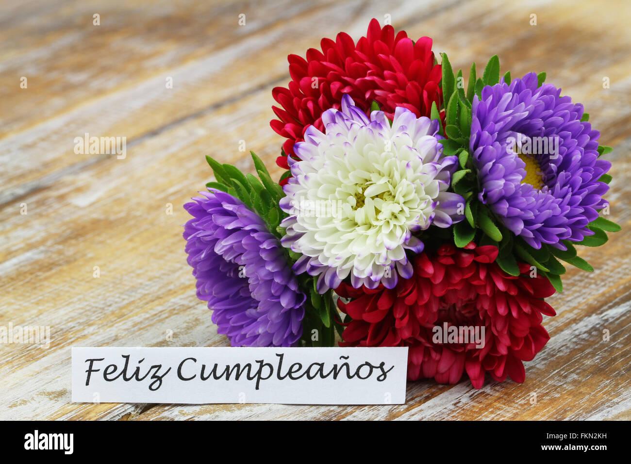 Mazzo Di Fiori In Spagnolo.Feliz Cumpleanos Buon Compleanno In Spagnolo Con Colorati Aster