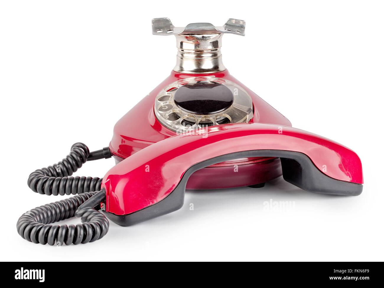 Rosso Antico Telefono Sganciato Isolati Su Sfondo Bianco Foto