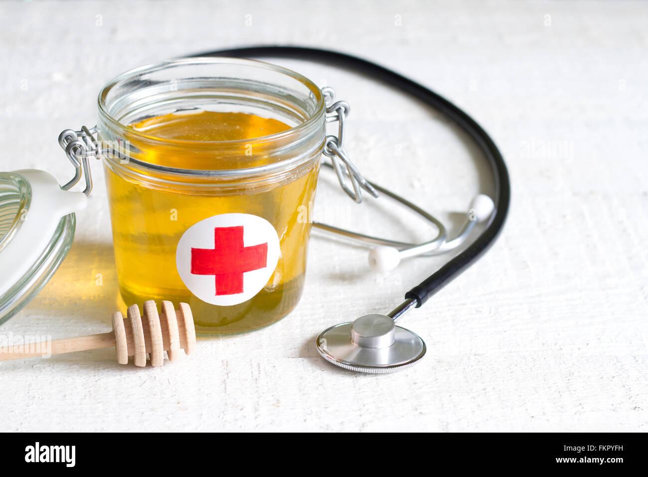 Il miele è una cura di salute astratto concetto di stile di vita Immagini Stock