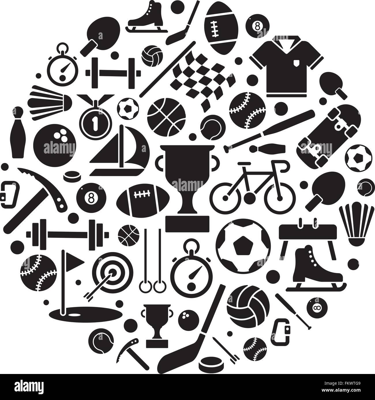Vasta gamma di attrezzature sportive simboli disposti in forma circolare Immagini Stock