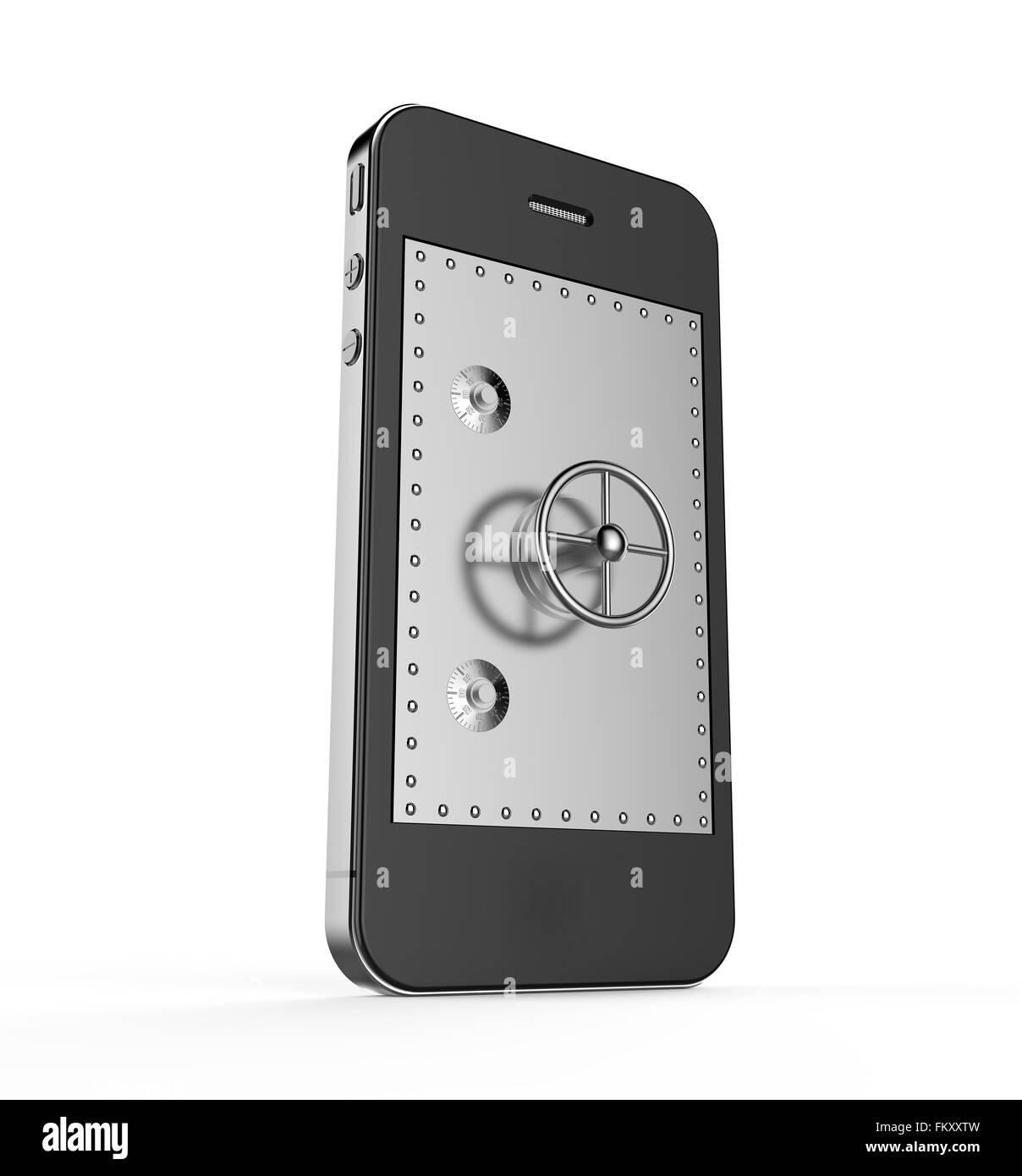 Chiudere lo sportello della cassetta di sicurezza in uno smartphone: concetto di sicurezza Foto Stock