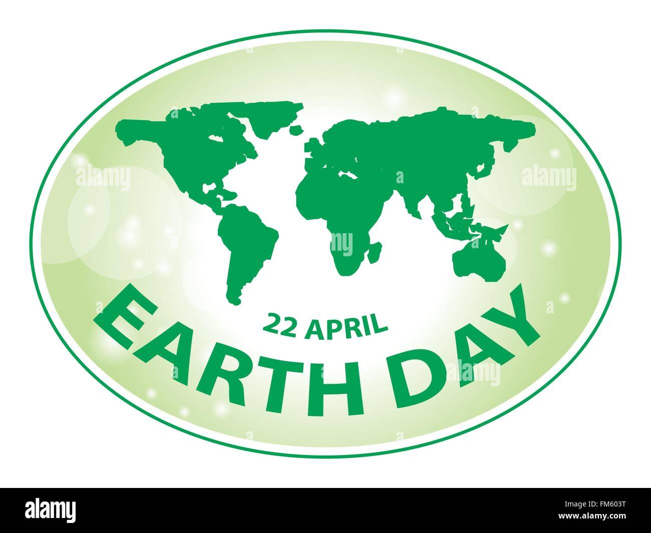 La giornata della terra green grunge banner mappa illustrazione vettoriale 2 Immagini Stock