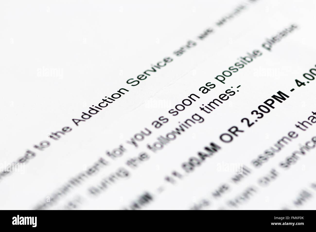 Lettera di ospedale per un appuntamento con l'alcol e la tossicodipendenza da droga Service Immagini Stock
