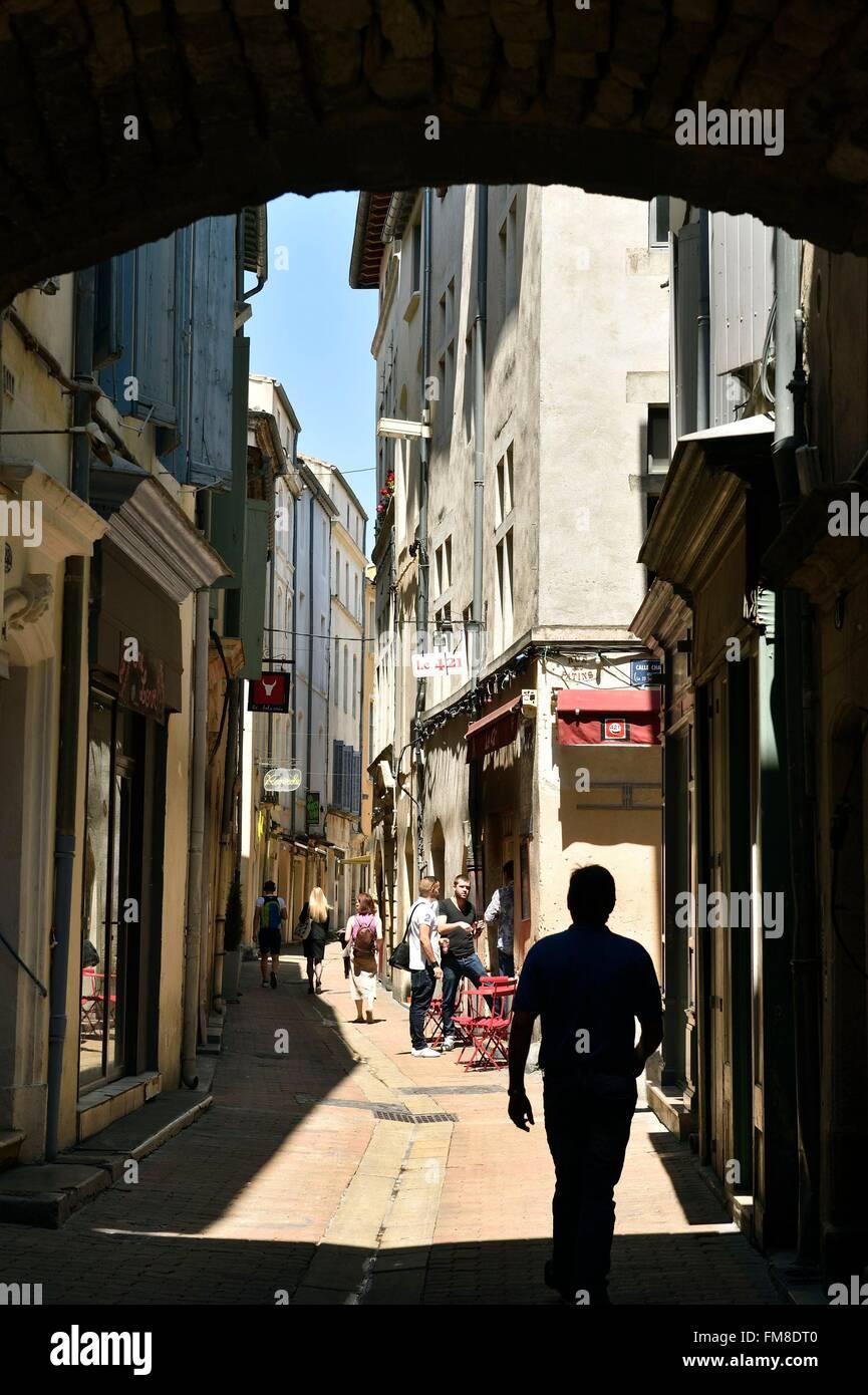 Francia, Gard, Nimes, città vecchia, rue Fresque Foto Stock