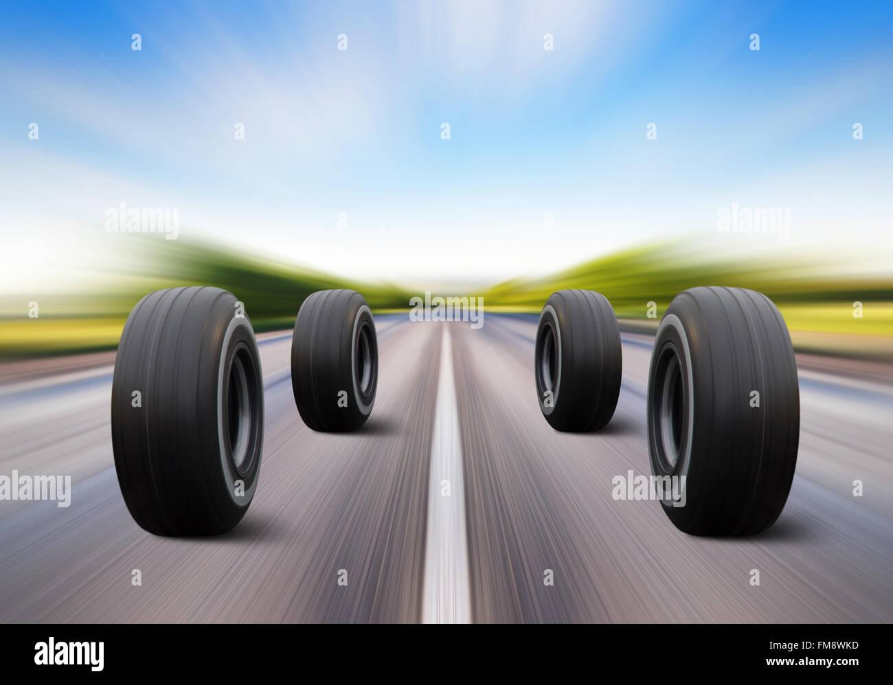 Quattro ruote di automobili rush su strada ad alta velocità Immagini Stock