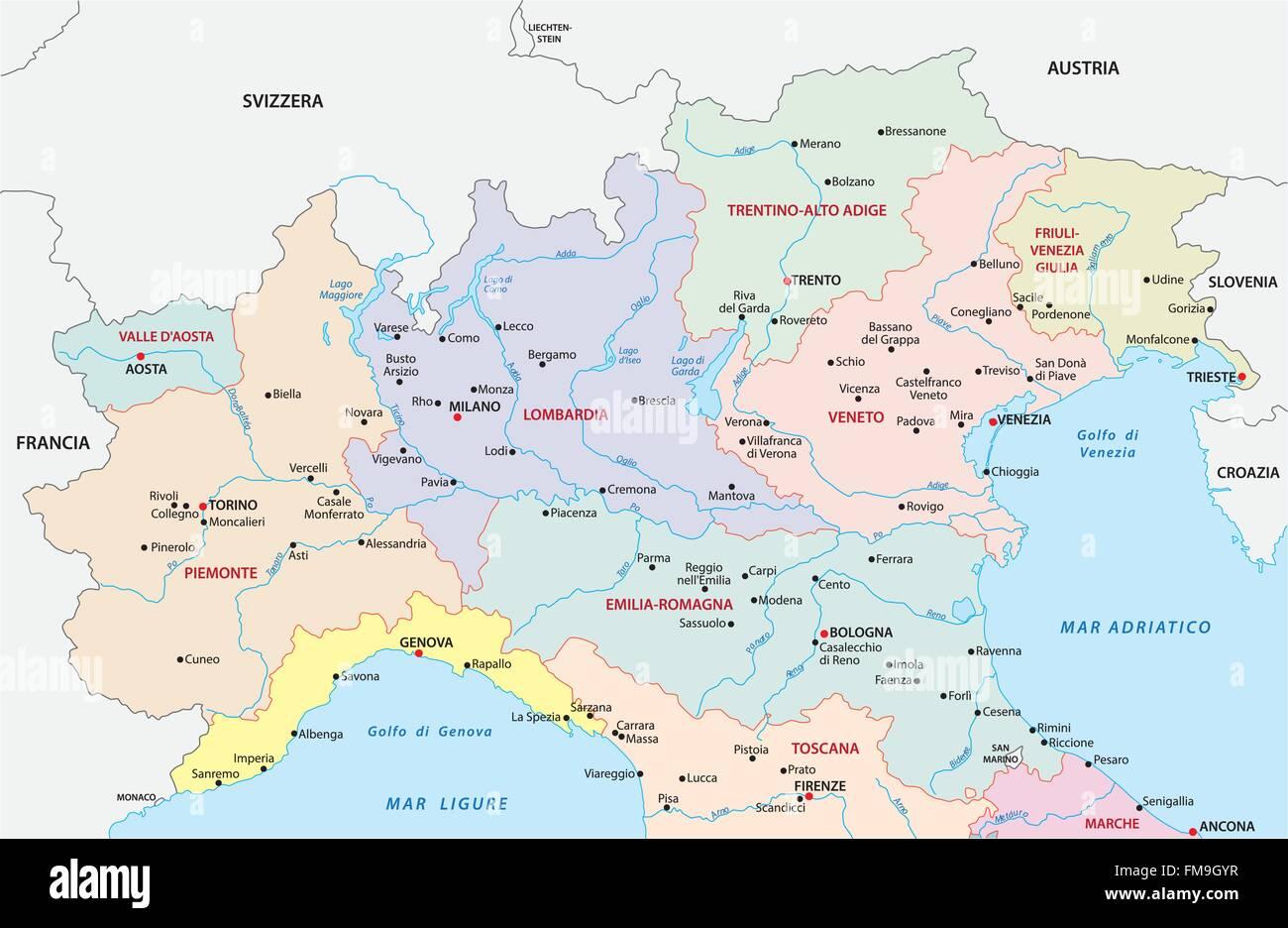 Province Nord Italia Cartina.Nord Italia Mappa Amministrativa Immagine E Vettoriale Alamy