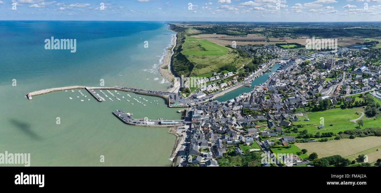 Francia, Calvados, Port en bessin (vista aerea) Foto Stock
