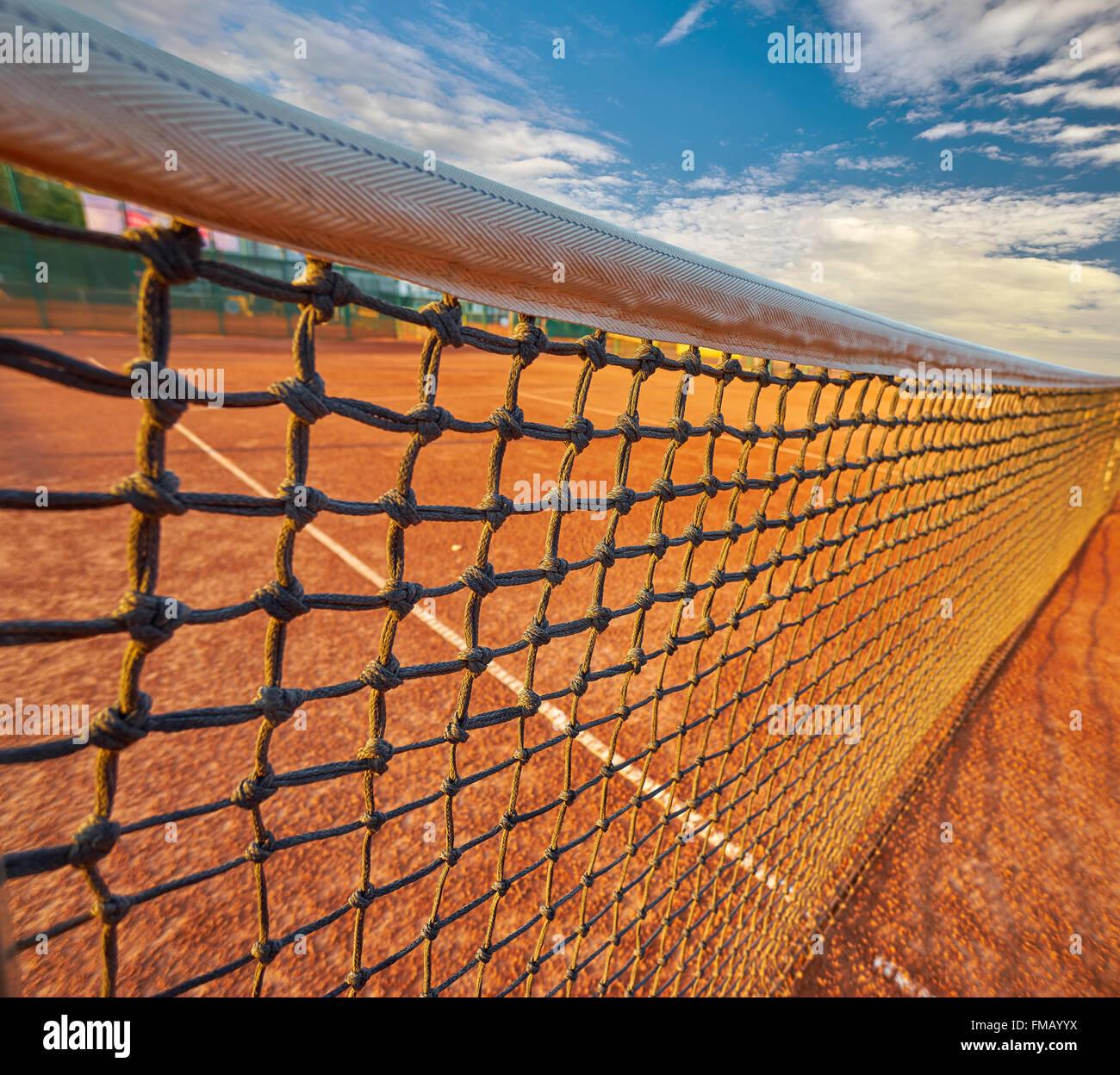 Griglia di tennis sul campo da Tennis sfondo Immagini Stock