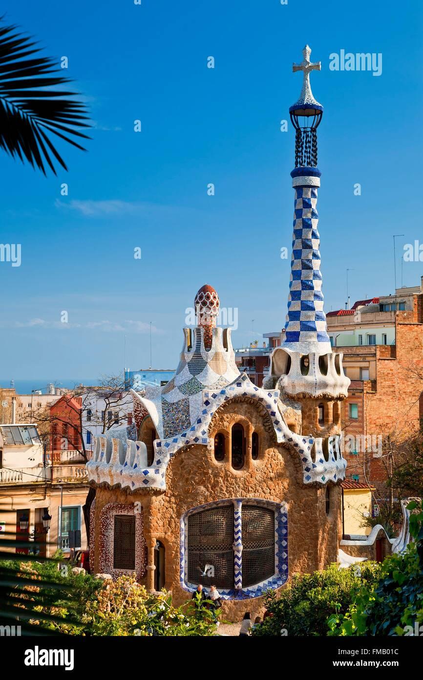 In Spagna, in Catalogna, Barcellona, Parco Guell di architetto Antoni Gaudi Immagini Stock