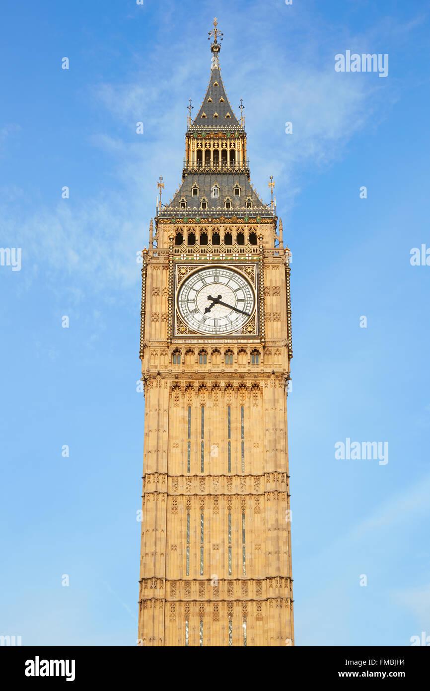 Big Ben di Londra, cielo blu Immagini Stock