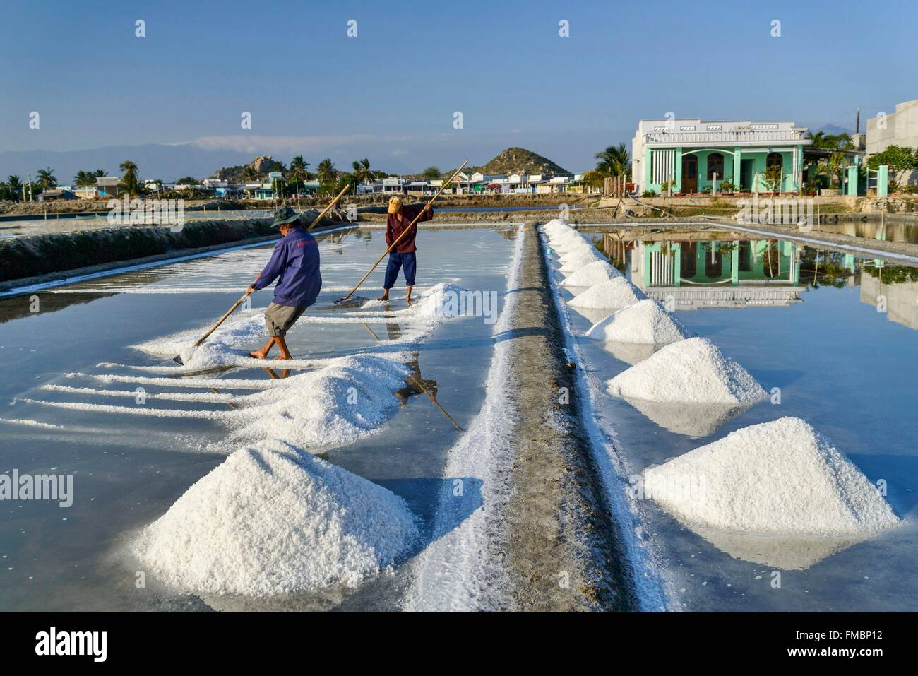Il Vietnam, Ninh Thuan provincia, Phan Rang, salin, la raccolta del sale nel salins Immagini Stock