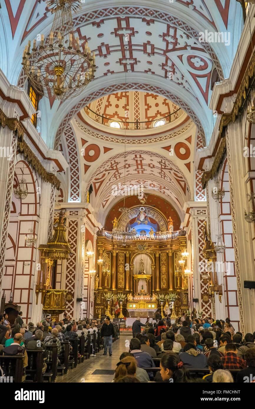 Il Perù, Lima, centro storico (elencati come patrimonio mondiale dall UNESCO), la chiesa di San Francisco Immagini Stock