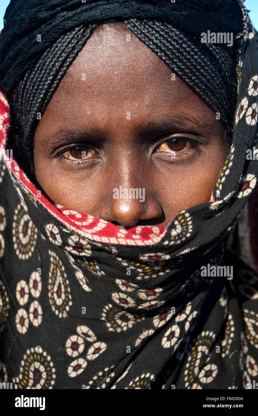 Giovane donna musulmana appartenenti all'etnia afar ( Etiopia) Immagini Stock