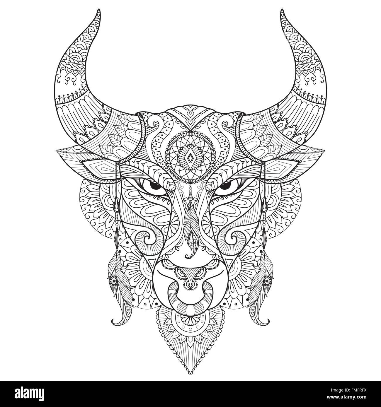 Disegno Arrabbiato Bull Per Libro Da Colorare Tattoo Logo T