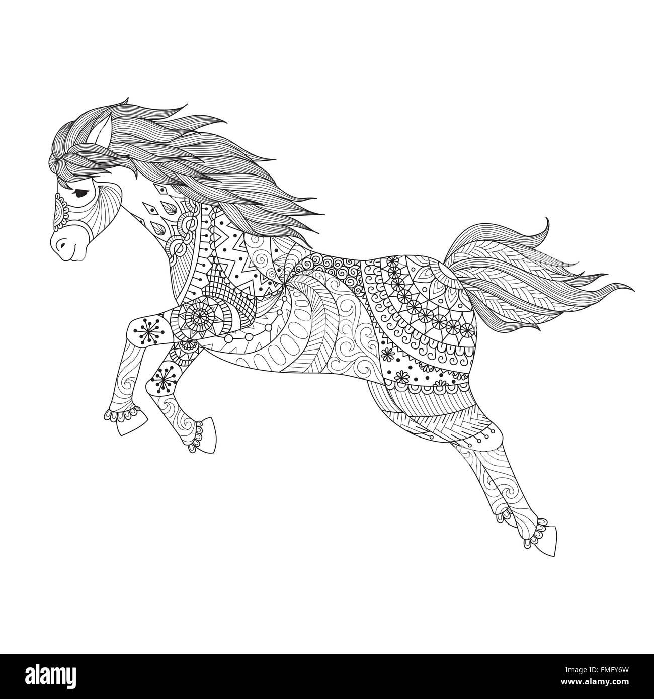 Disegno Di Cavallo Salto Zentangle Lo Stile Per Il Libro Da Colorare