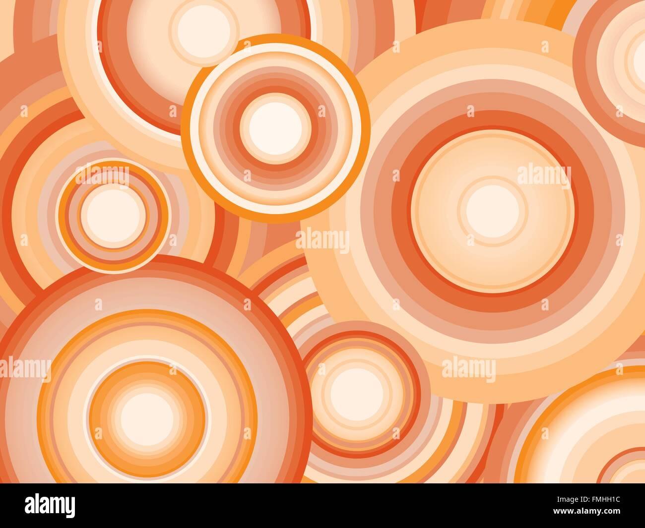 Sfondo astratto con ombreggiatura arancione cerchi concentrici Immagini Stock