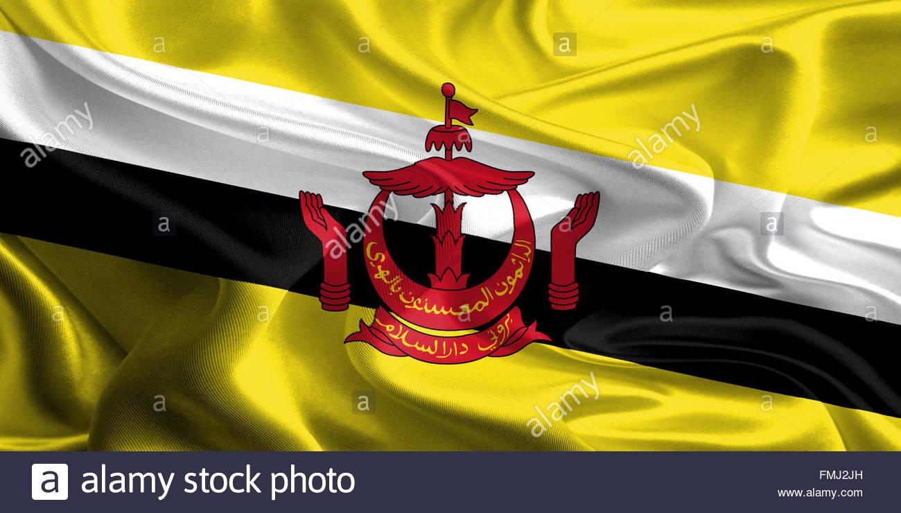 Sventola bandiera in tessuto di Brunei Immagini Stock