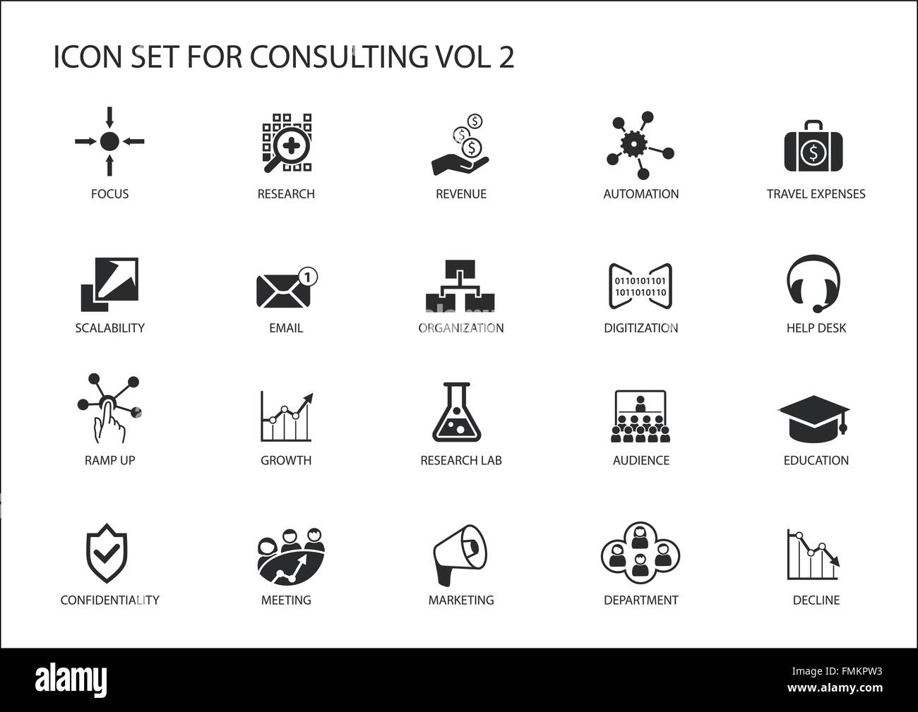 Vector Icon Set per argomento consulting. Vari simboli per la consulenza di strategia, IT Consulting, consulenza Immagini Stock