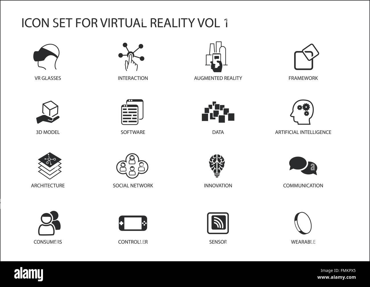 La realtà virtuale (VR) vettore icona set. Più simboli in design piatto come occhiali per realtà Immagini Stock