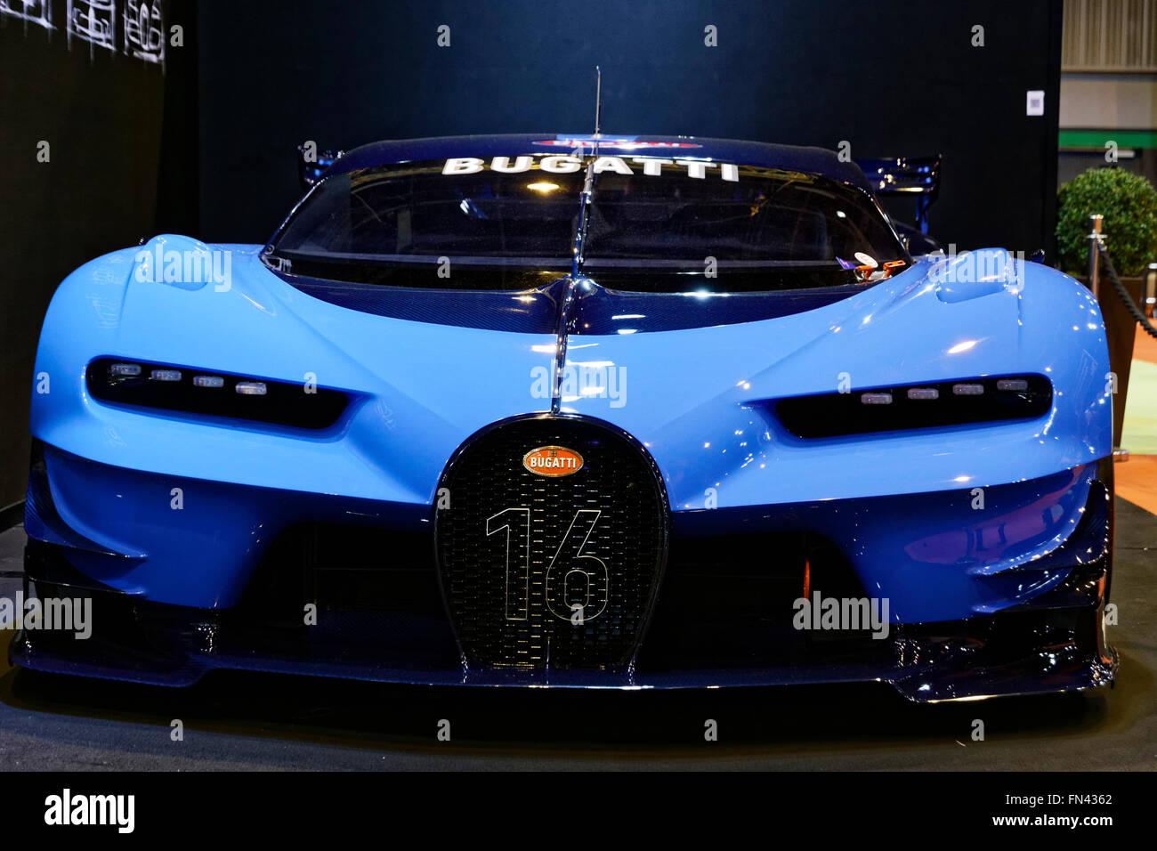 Bugatti Vision Gran Turismo a Retromobile show di Parigi Immagini Stock