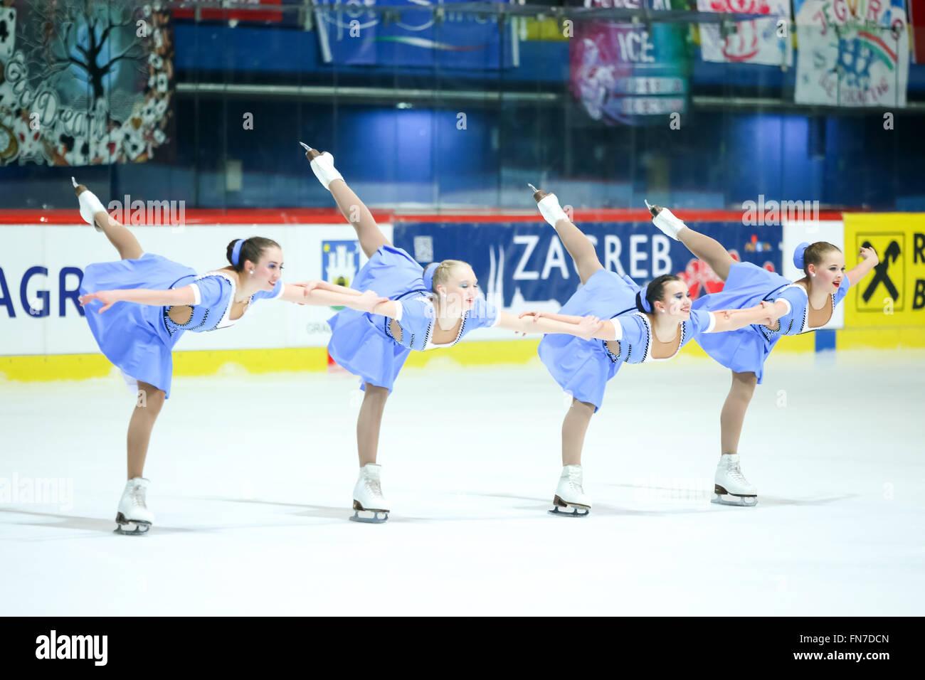 Zagabria, Croazia - 12 Marzo : Russia 2 eseguire in Juniors pattinaggio gratuito durante il giorno 2 dell'ISU di Foto Stock