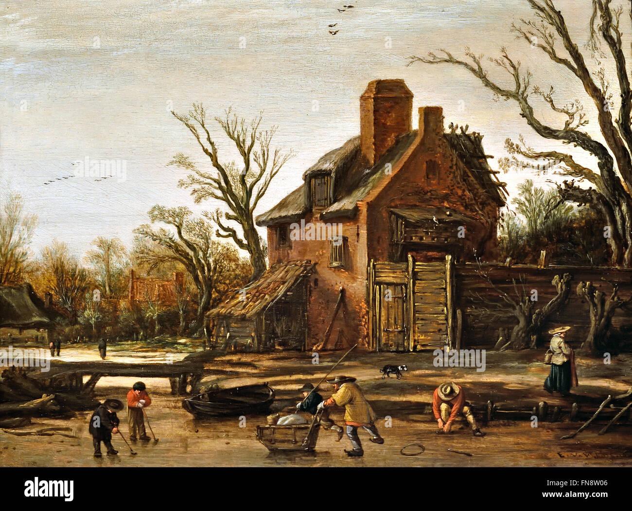 Esaias van de Velde, paesaggio invernale con casa colonica, 1624 Paesi Bassi olandese un uomo è la legatura Immagini Stock