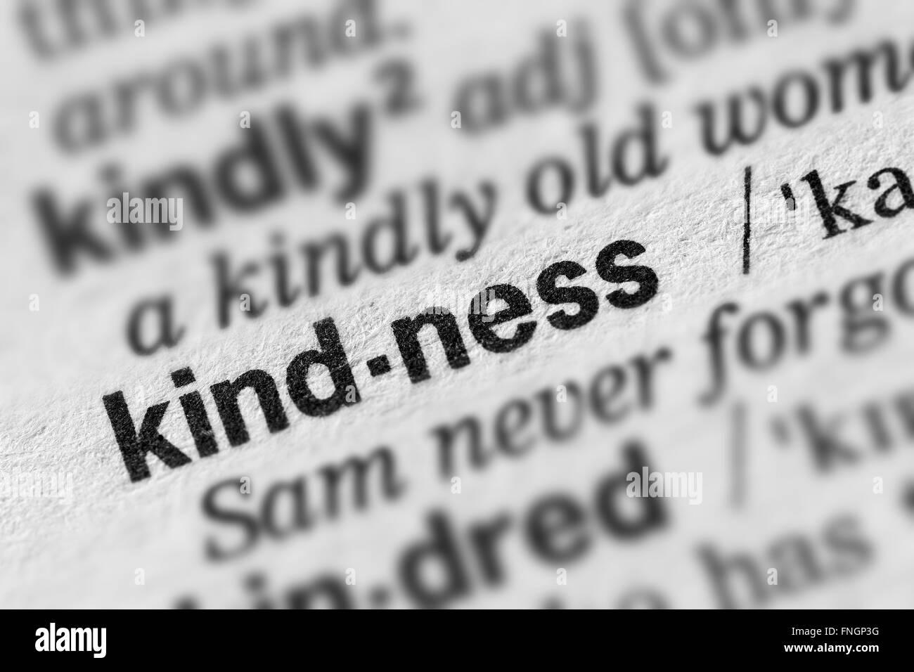 Gentilezza definizione parola testo nella pagina del dizionario Immagini Stock